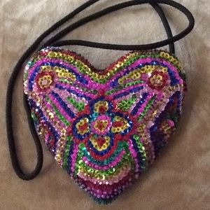 Small Sequin heart accent purse